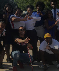 Group of Students In Front of Fayard Hall